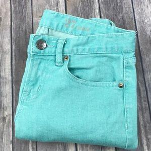 J.Crew Jeans Toothpick Skinny Mint Green 27